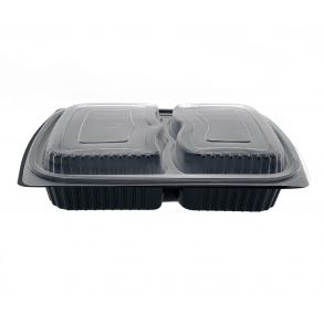 Black 2comp Microwavable Container+Lid (1000cc-1250cc)