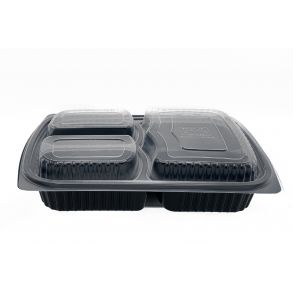 Black 3comp Microwavable Container+Lid (1000cc-1250cc)